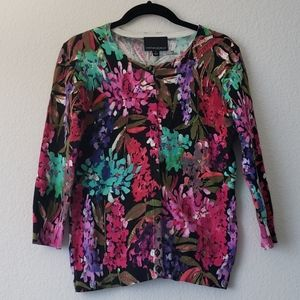 Colorful Abstract Floral Print Knit Cardigan
